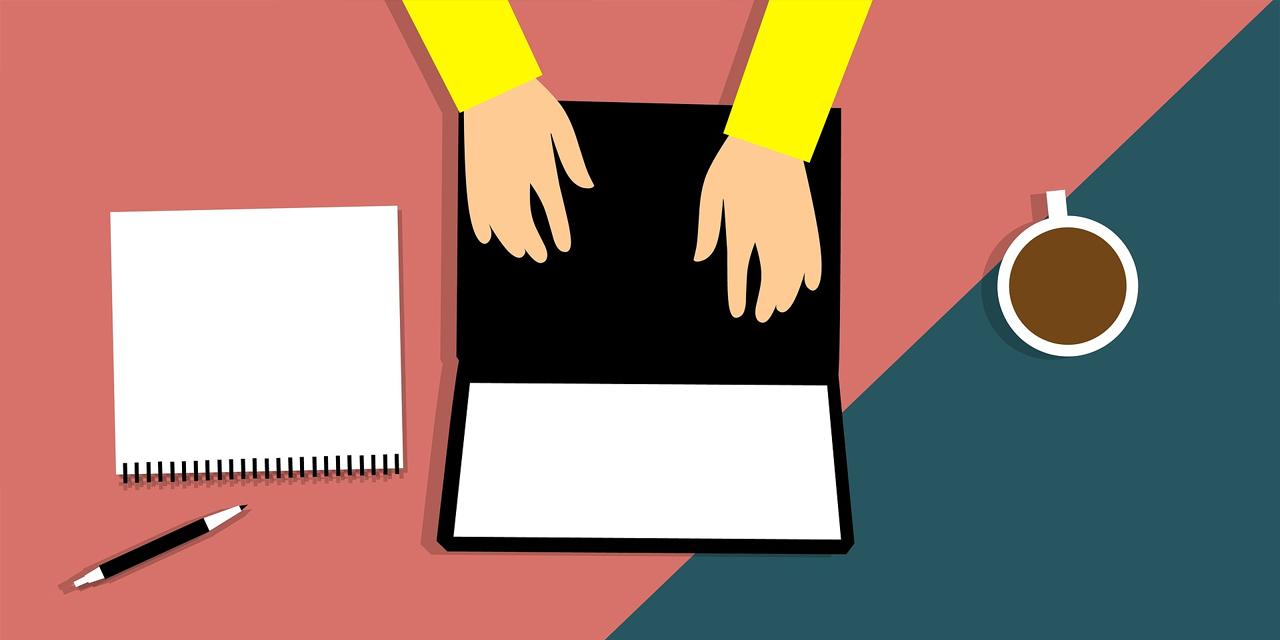 Laptop, Hände, Block, Stift, Tasse Kaffee