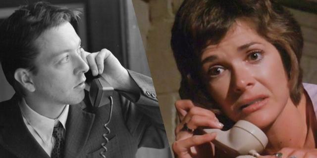"""Screenshot aus """"Play Misty For Me"""" und aus """"Following"""": Ein Mann und eine Frau, beide am Telefon"""
