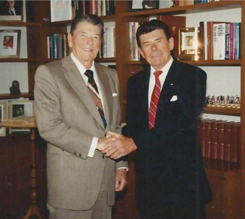 Der 40. Präsident der USA (links) und sein Doppelgänger Jay Koch.