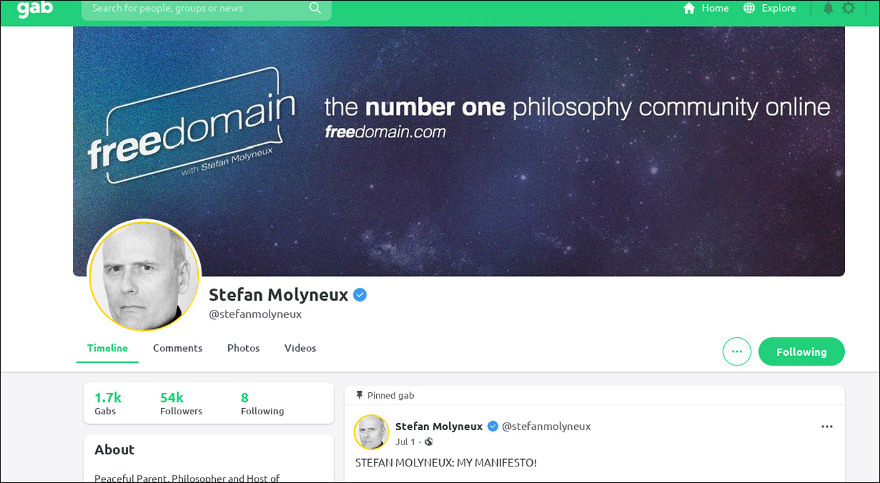 Screenshot The Gab / Profil von Stefan Molyneux