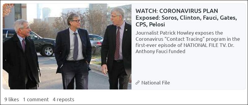 Screenshot eines Artikelteaser über einen angeblichen Corona-Plan von Bill Gates, Soros, Fauci et. al.