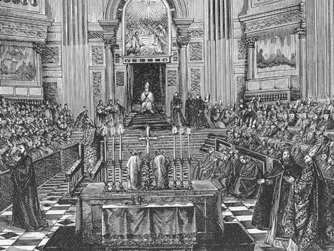 Erste Vatikanisches Konzil, Pius IX, 1869, Zeichnung