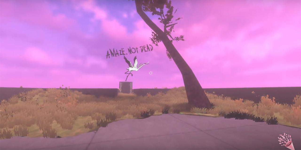 Ein Storch im virtuellen AMAZE Space auf grünem und pinken Hintergrund.
