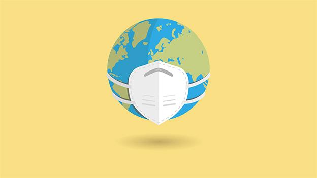 Illustration der Erde mit Mund-Nasen-Schutz