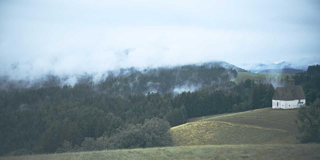Nebel zieht über Landschaft