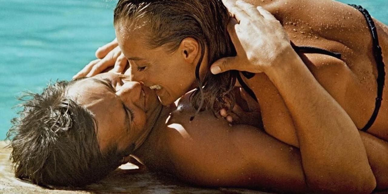 Romy Schneider und Alain Delon am Pool