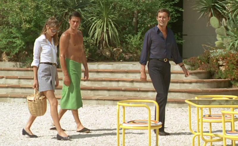 Im Hintergrund eine Villa, Jane Birkin, Alain Delon und Maurice Ronet