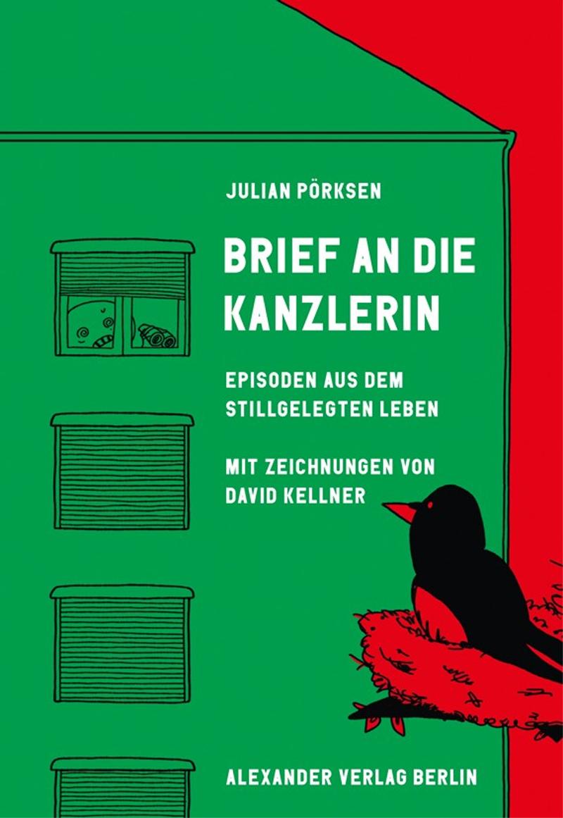 Buchcover mit Zeichnung: Person in einem Haus am Fenster hat ein Fernglas in der Hand und bemerkt mit Schrecken, dass ein Vogel im Baum gegenüber ihn beobachtet