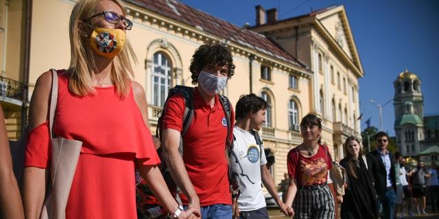 Junge Menschen demonstrieren in Bulgarien