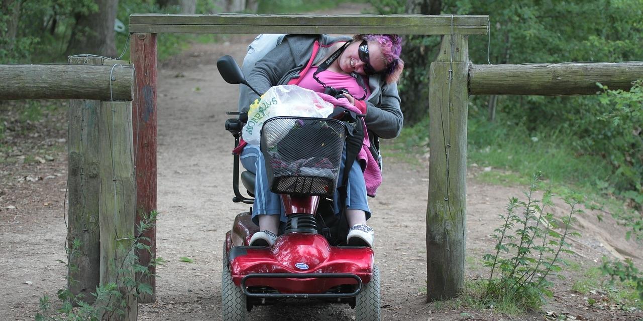 Frau im Rollstuhl unter einer Holzbarriere
