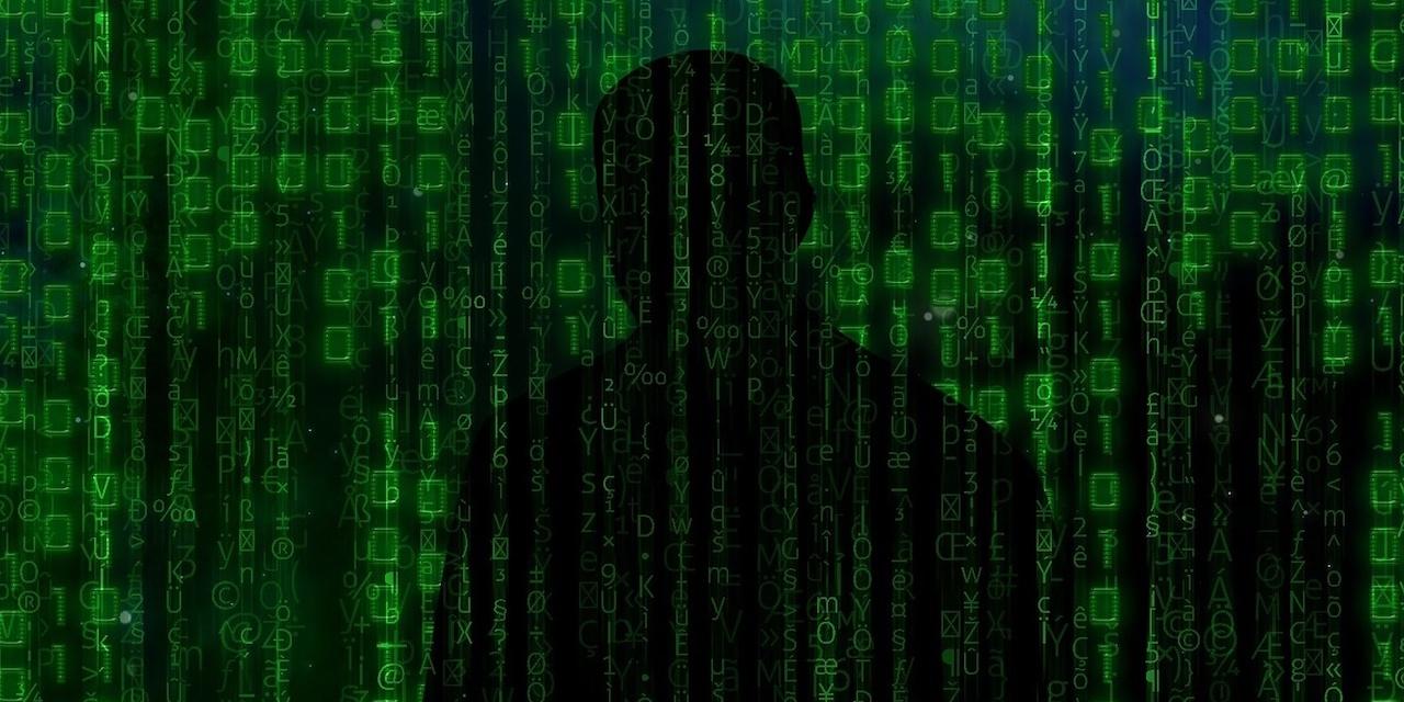 Hacker Siluette hinter Matrix