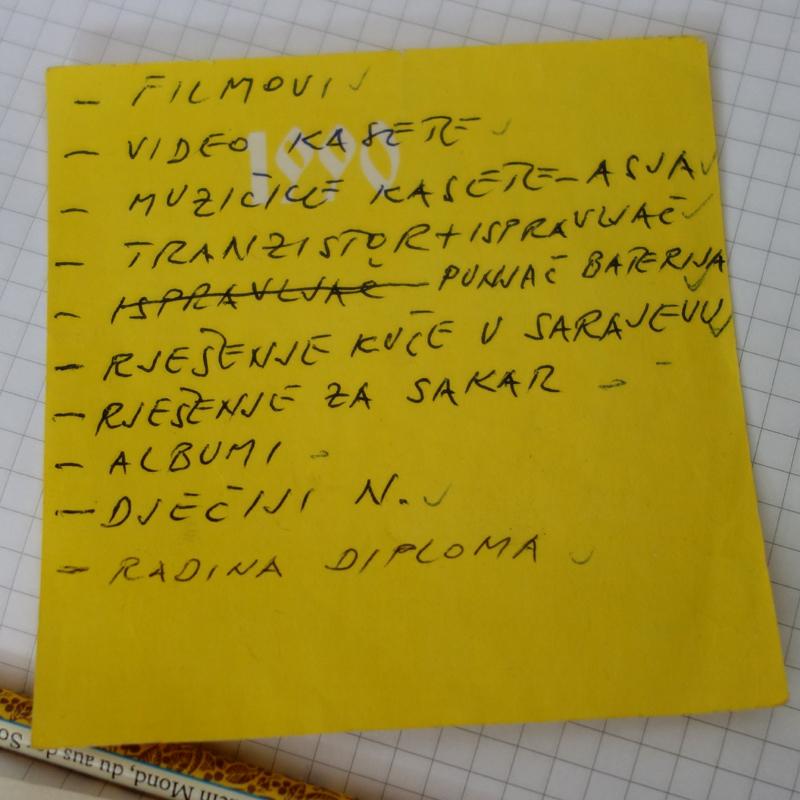 Ein Notizzettel mit einer Liste