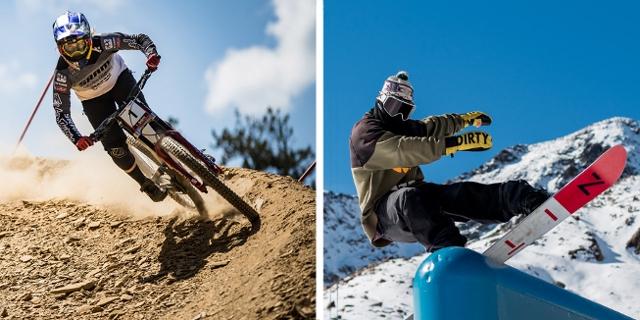 Vali Höll auf dem Mountainbike und ein Snowboarder