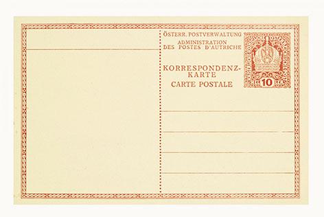 Korrespondenzkarte der österreichischen Postverwaltung mit gedruckter Briefmarke von Kolo Moser. Um 1910.