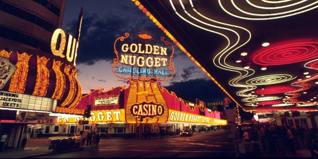 Beleuchtungen am Golden Nugget Casino in Las Vegas