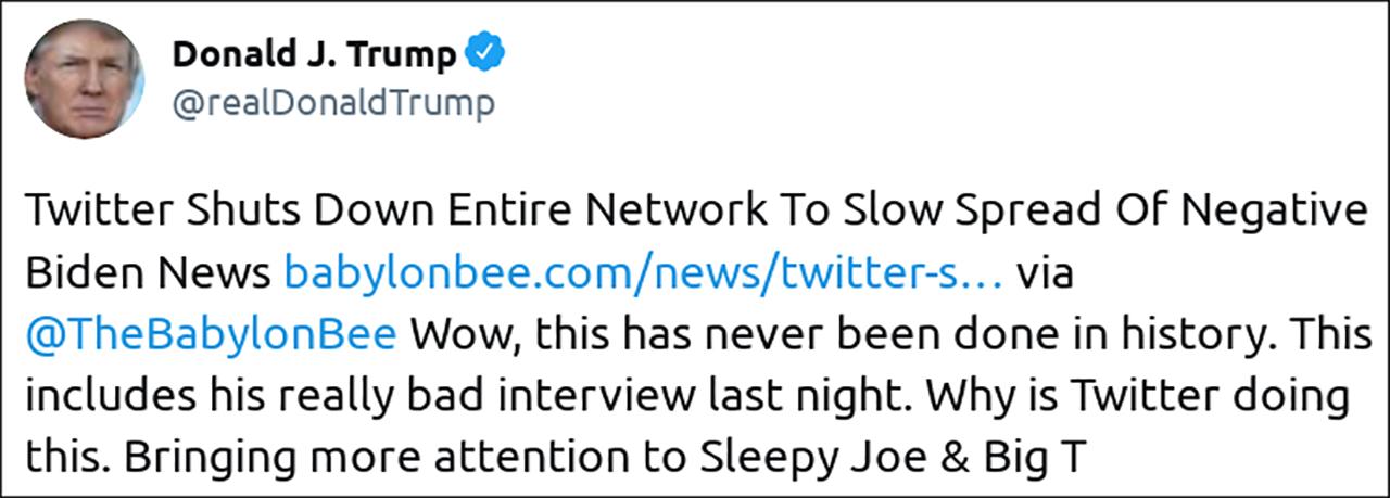 Tweet von Trump über Twitter Shutdown