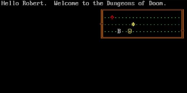 "Bildschirmfoto aus dem Computerspiel ""Rogue"""