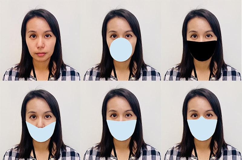 Frau mit unterschiedlich verhülltem Gesicht