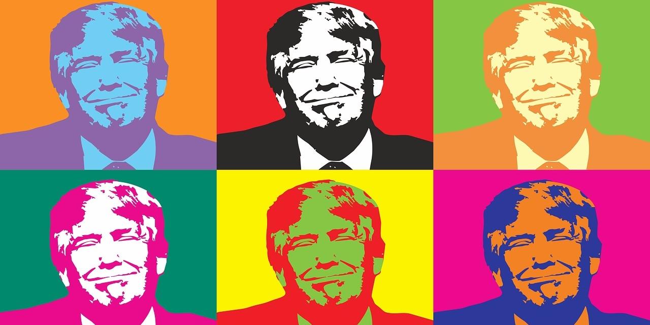 Trump als Pop Art Bild in vielen verschiedenen Farben