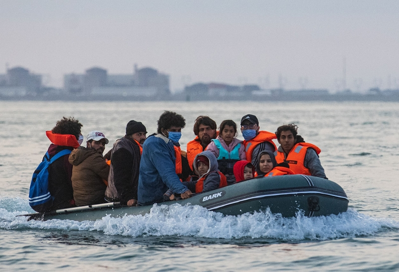 Flüchtlings auf einem Boot im Ärmelkanal