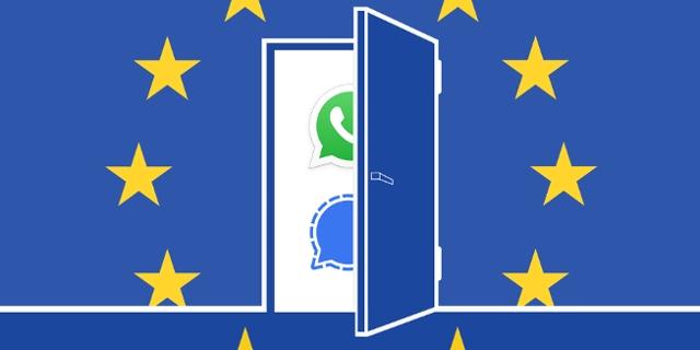 Offene Tür mit EU-Flagge, dahinter die Logos von Signal und WhatsApp