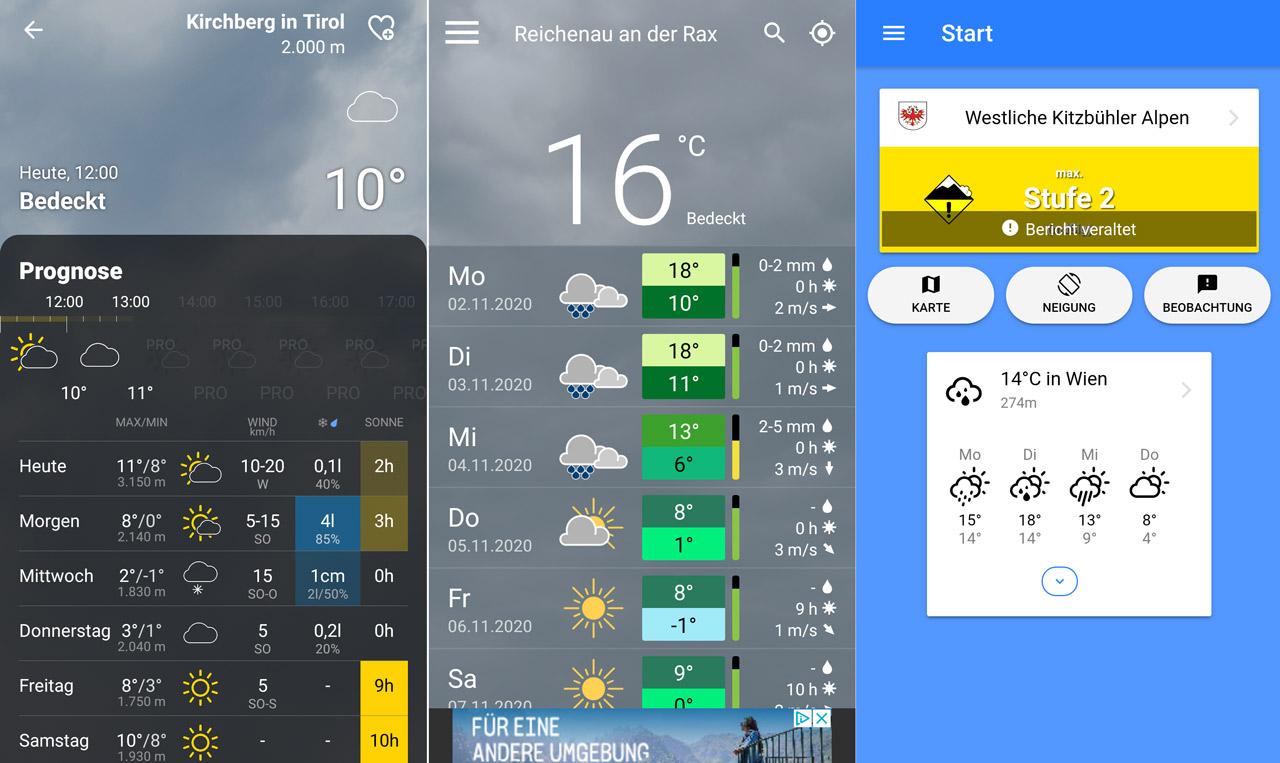 Screenshots von einem Smartphone aus Berg- und Wetter-Apps