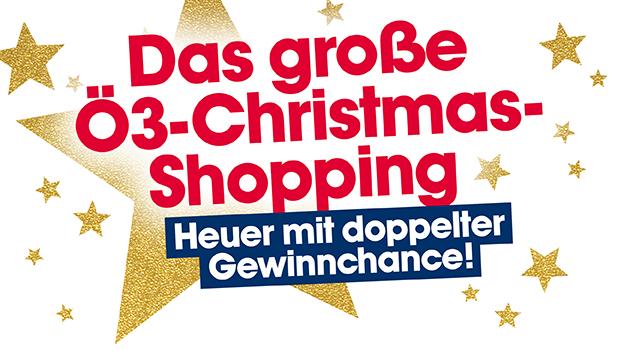 Gewinnspiel-Sujet: Das große Ö3-Christmas-Shopping, heuer mit doppelter Gewinnchance. Wir zahlen deinen Weihnachtseinkauf