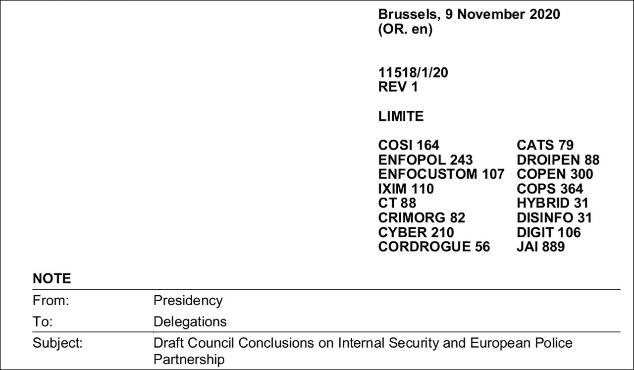 Dokument EU Ministerrat