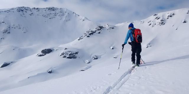Person mit Tourenskiern auf Skitour