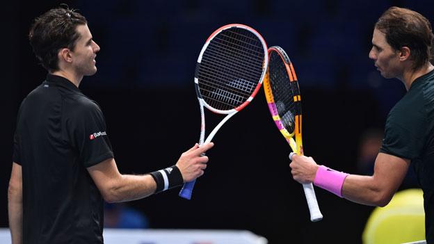 Dominic Thiem und Rafael Nadal bei den ATP-Finals in London 2020