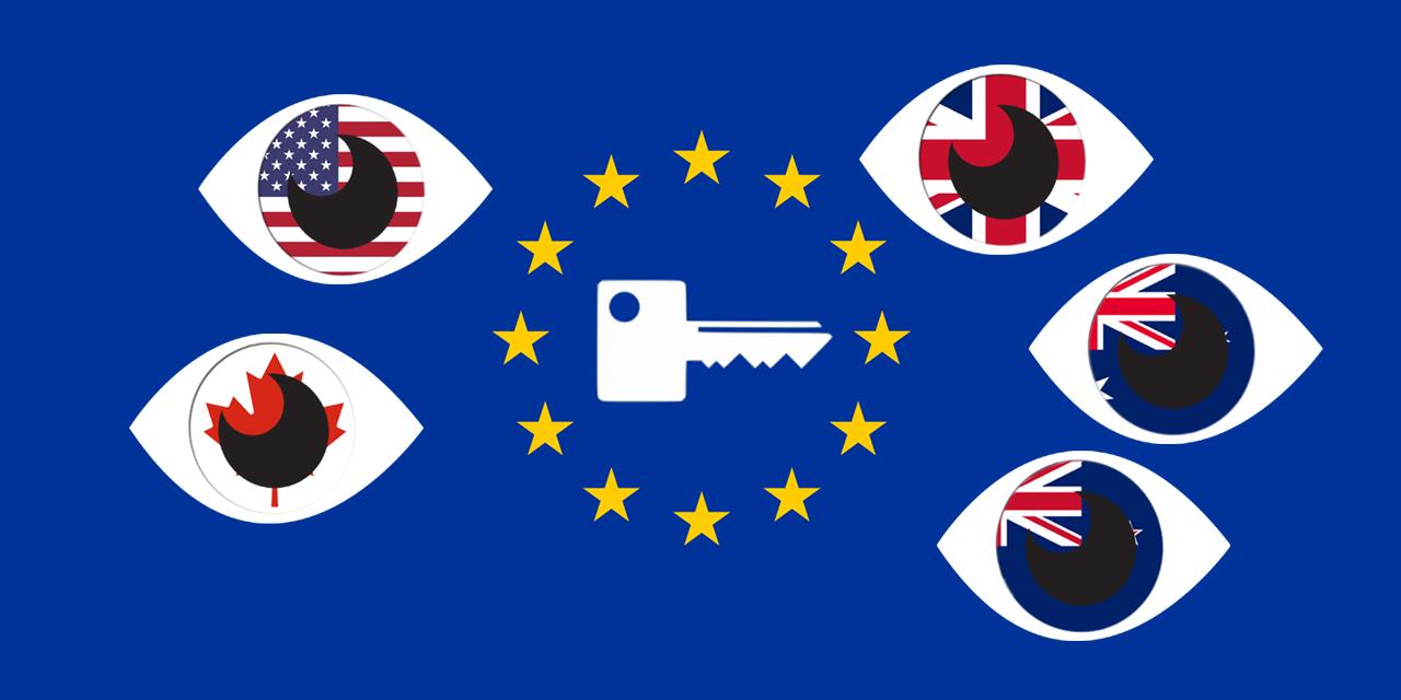EU-Flagge mit Einheitsschlüssel. Darum herum 5 Augen mit den Flaggen von USA, Kanada, UK, Australien und Neuseeland