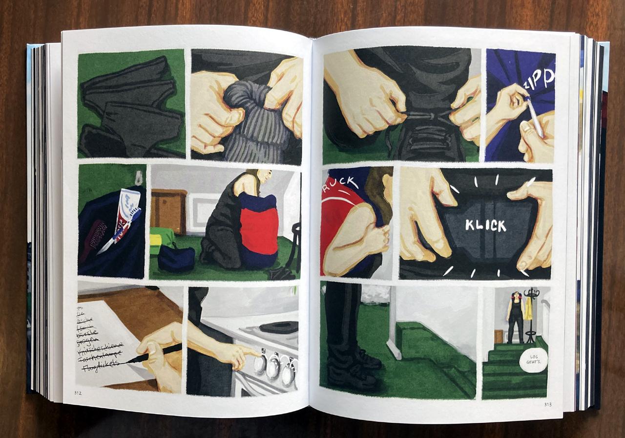 """Comic """"Bei mir zuhause"""": Alltägliche Handlungen werden gezeichnet, zum Beispiel das Schuhebinden"""