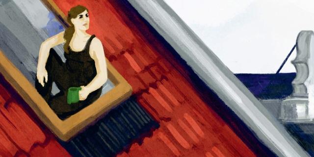 """""""Bei mir zuhause"""": Die Autorin zeichnet sich selbst, wie sie am offenen Dachfenster ihrer Wohnung sitzt"""