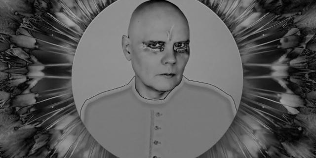 Billy Corgan von The Smashing Pumpkins in S/W, geschminkt