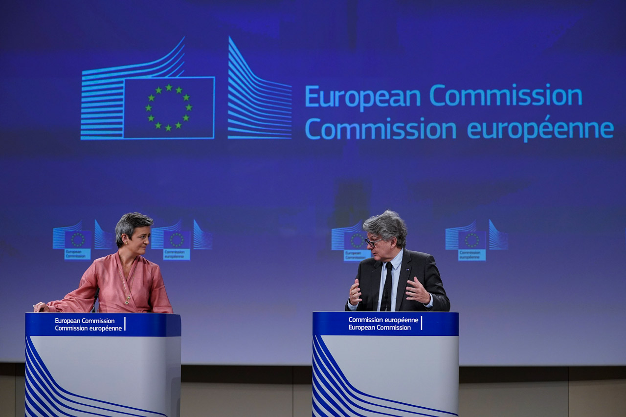 European Union Commission Executive Vice President Margrethe Vestager and Internal Market Commissioner Thierry Breton