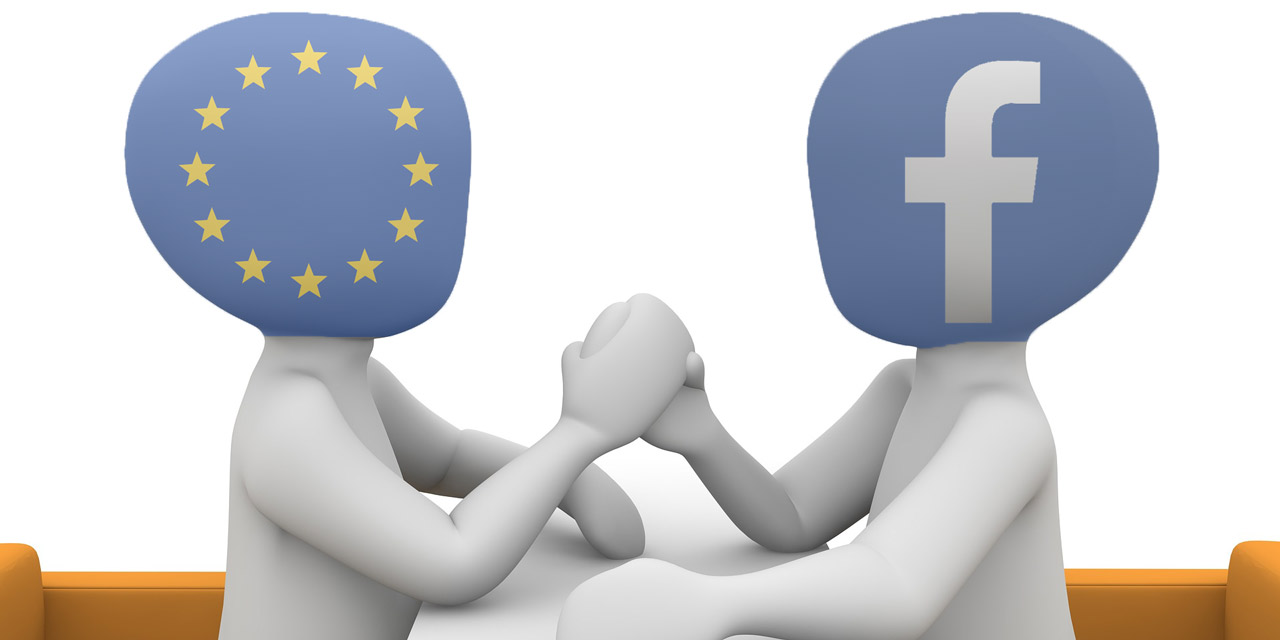 Europäische Union symbolisch im Armdrücken mit Facebook
