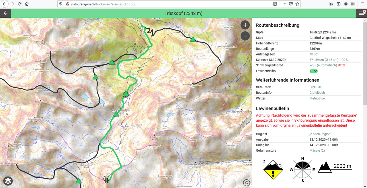 Screenshots aus Skitourenguru