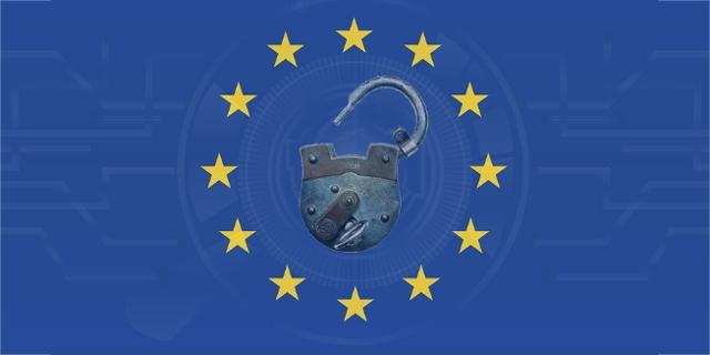 offenes Vorgängeschloss auf EU-Flagge