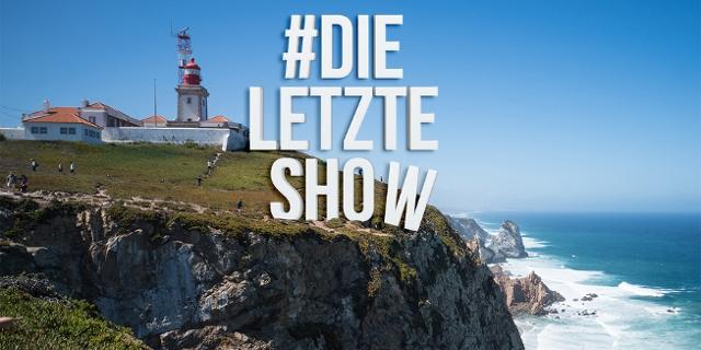 """Kliff in Portugal, darüber der Schriftzug """"Die letzte Show"""""""