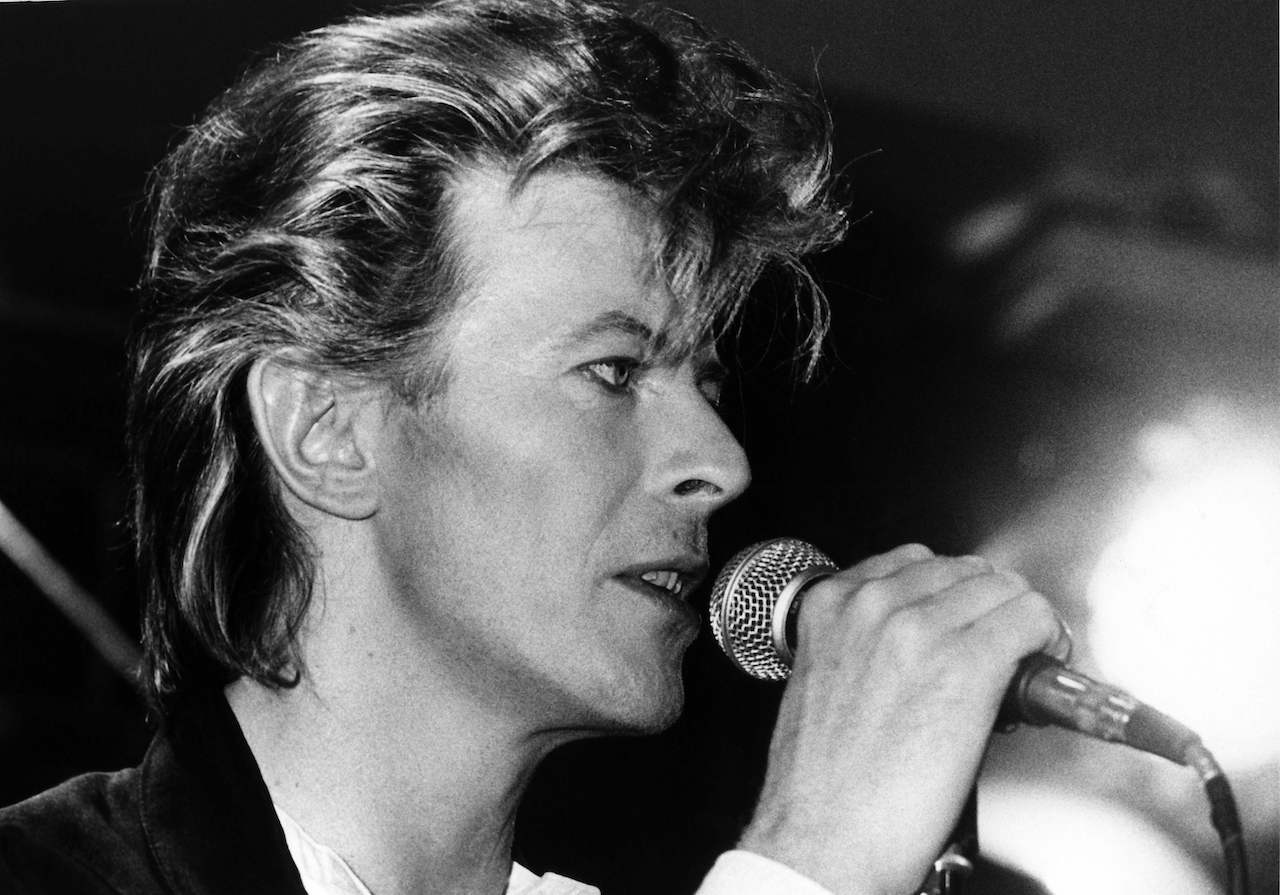 """1987, British musician David Bowie during a press conference on his """"Glass Spider Tour"""" in Munich"""