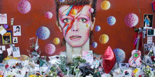 Mural of late British pop icon David Bowie created by Australian street artist Jimmy C in Brixton, south London on January 10, 2017 on the first anniversary of Bowie's death