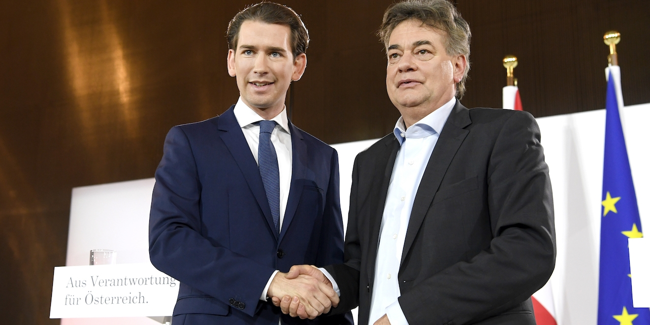 ÖVP-Chef Sebastian Kurz und Grünen-Chef Werner Kogler am Donnerstag, 02. Jänner 2020 bei der Präsentation des Regierungsprogramms in Wien