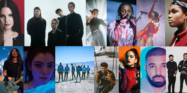 Collage: Lana Del Rey, Kendrick Lamar, Lorde, Arcade Fire, FKA Twigs, St. Vincent, Rosalìa, Drake, Slowthai, Foo Fighters, Royal Blood, Arlo Parks, Ja Panik