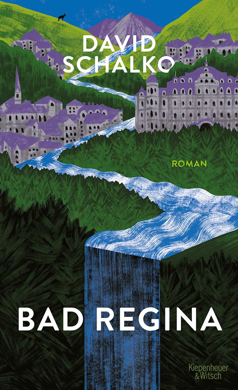 """Das Buchcover zu """"Bad Regina"""" zeigt die Zeichnung eines Kurorts in den Bergen."""