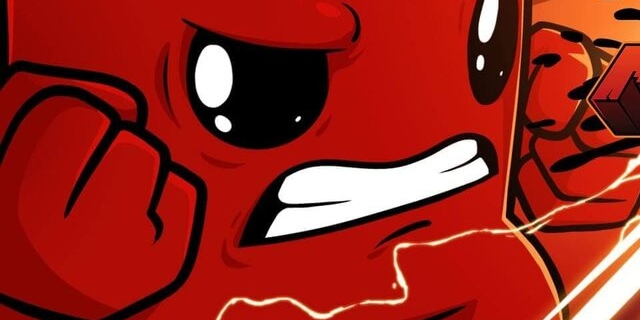 "Artwork aus dem Computerspiel ""Super Meat Boy Forever"""