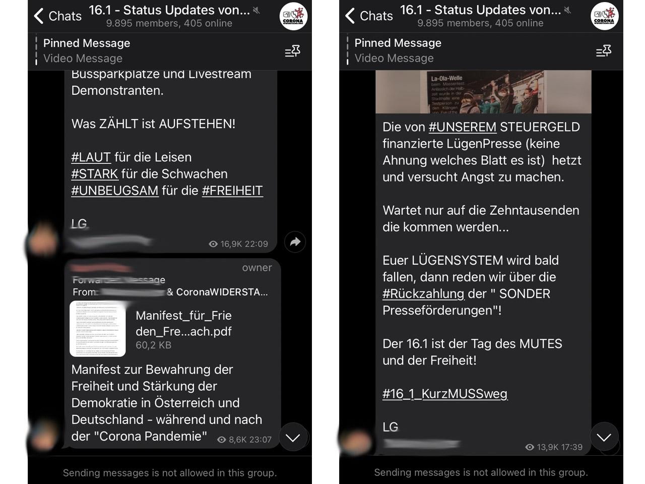 Screenshots aus Telegram-Chats