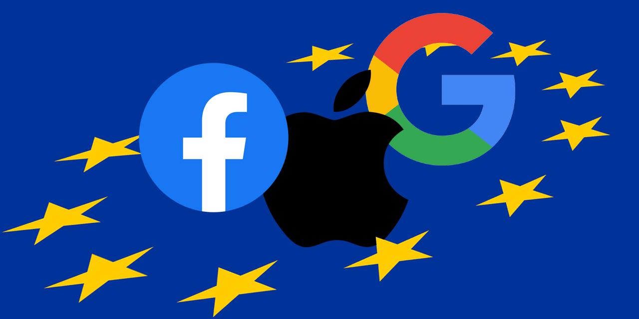 EU-Flagge sowie die Logos von Facebook, Apple und Google