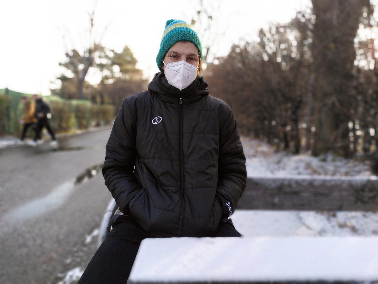Moritz Lanegger mit FFP2-Maske