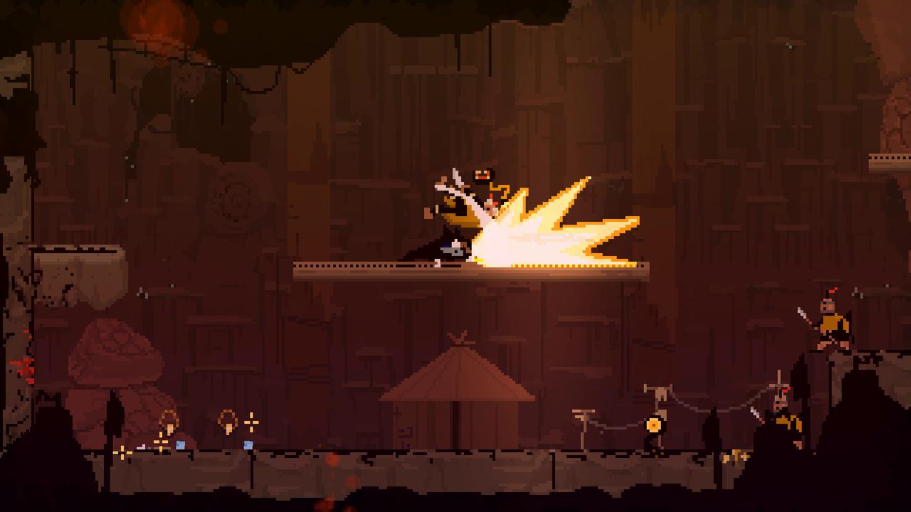 Screenshot Olija Kampf mit Explosion