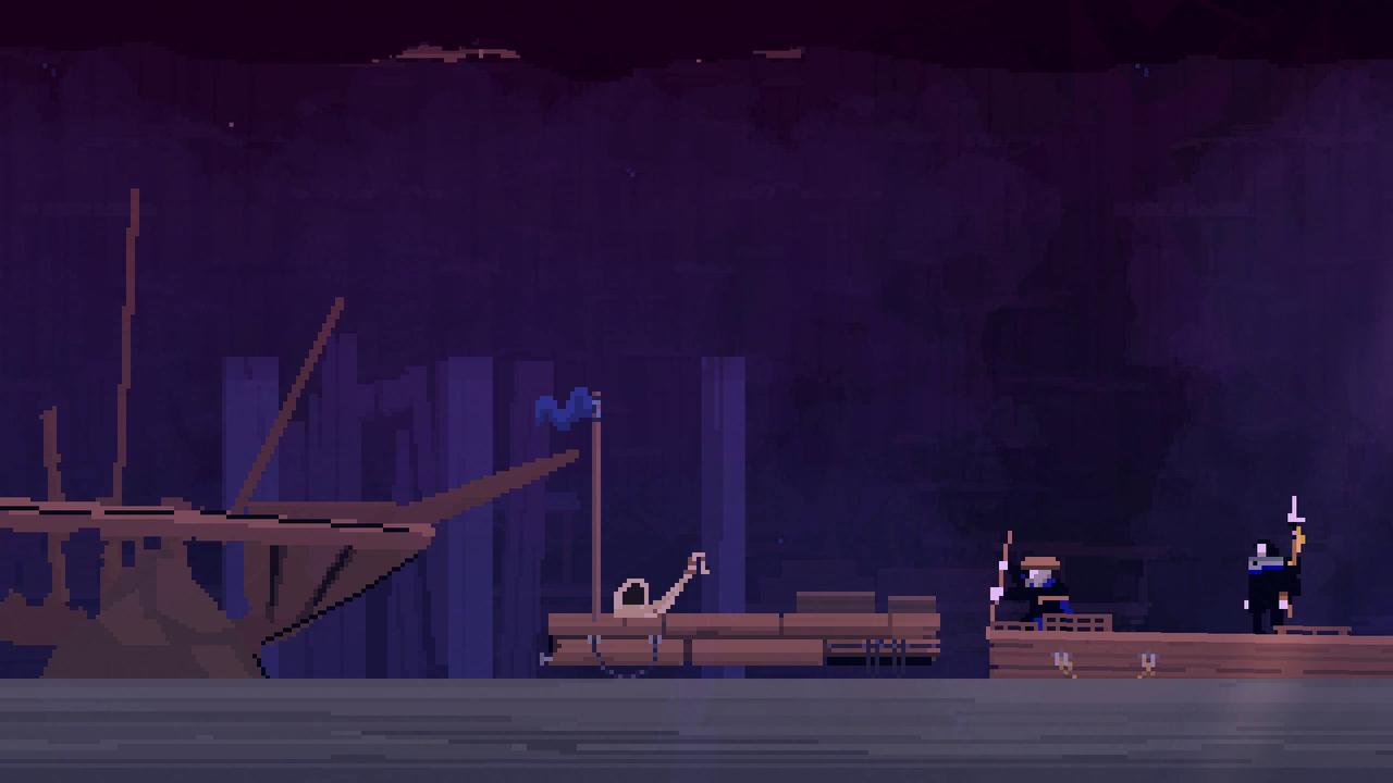 Screenshot Olija zerbrochenes Schiff
